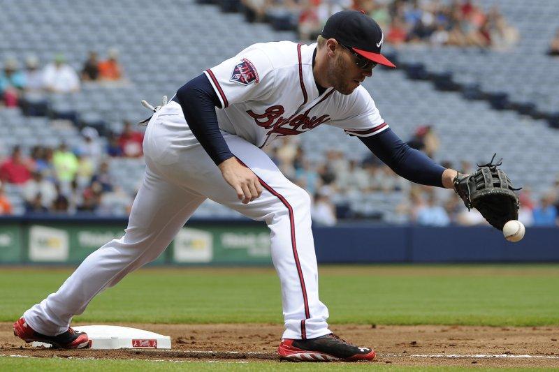 Atlanta Braves first baseman Freddie Freeman. UPI/David Tulis