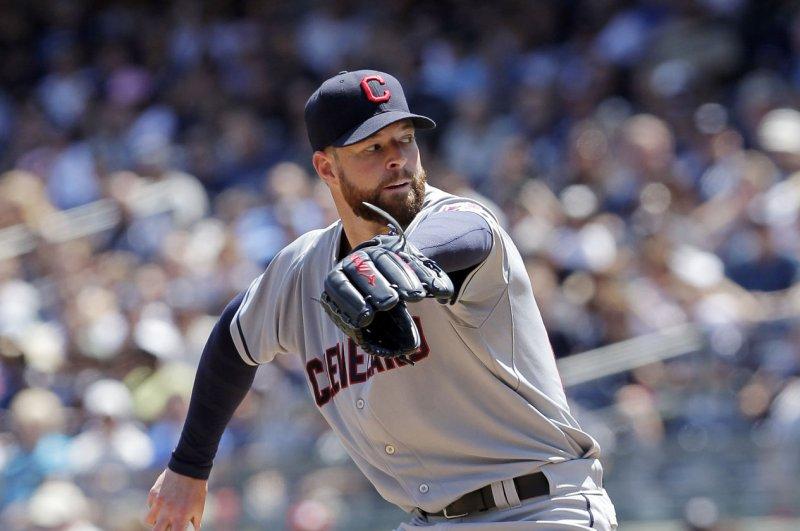 Cleveland Indians starting pitcher Corey Kluber. UPI/John Angelillo