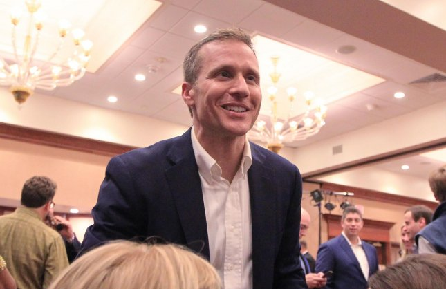 Republican candidate for Missouri Governor Eric Greitens, thanks supporters as he works the room following his successful campaign against Missouri Attorney General Chris Koster. Photo by Bill Greenblatt/UPI