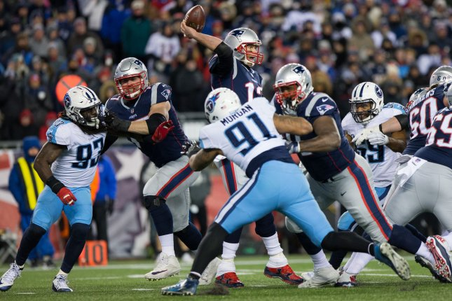 New England Patriots quarterback Tom Brady throws a pass during the AFC Divisional round playoff win over the Tennessee Titans on Saturday. Photo by Matthew Healey/UPI