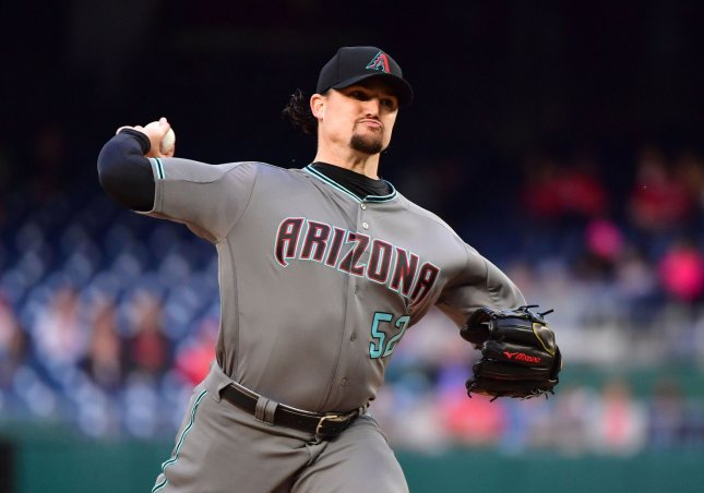 Zack Godley and the Arizona Diamondbacks square off with the New York Mets on Friday. Photo by Kevin Dietsch/UPI