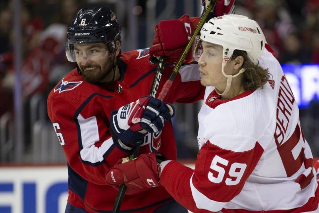 Washington Capitals defenseman Michal Kempny (6) and Detroit Red Wings left wing Tyler Bertuzzi (59) grapple for position in front of the net during the third period on November 23 at Capital One Arena in Washington, D.C. Photo by Alex Edelman/UPI