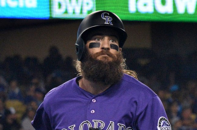 Colorado Rockies center fielder Charlie Blackmon is hitting .336 this season after a record-breaking weekend against the rival Padres. File Photo by Jim Ruymen/UPI