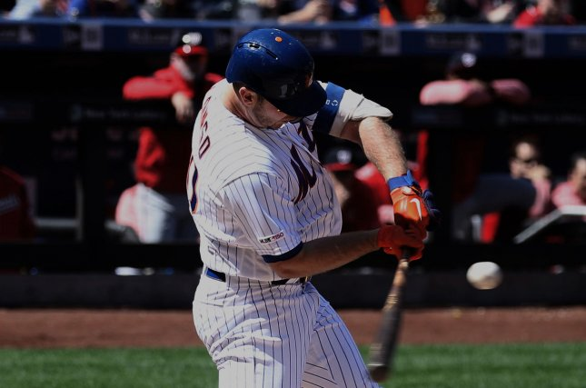 New York Mets rookie first baseman Pete Alonso passed Darryl Strawberry for the team's record for most home runs in a single season by a rookie. File Photo by Peter Foley/UPI