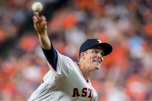 Houston Astros starting pitcher Zack Greinke allowed five hits and two runs in six innings in a playoff win over the Tampa Bay Rays on Wednesday in San Diego. File Photo by Trask Smith/UPI