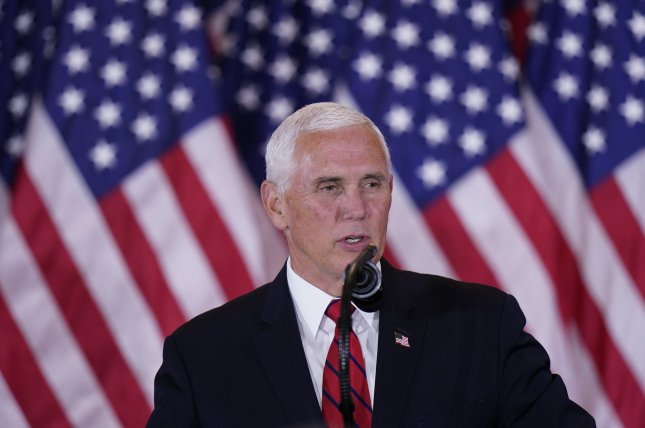 Vice President Mike Pence, show making a statement to supporters at the White House on November 4, may travel to the Middle East and Europe starting Jan. 6. Photo by Chris Kleponis/UPI