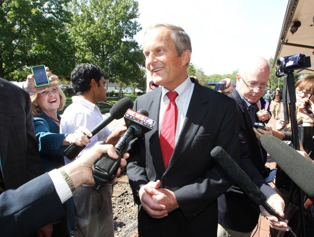 Rep. Todd Akin speaks to reporters following a press conference with former Speaker of the House Newt Gingrich at the Kirkwood train station in Kirkwood, Missouri on September 24, 2012. Gingrich is visiting the area to help Akin with his U.S. Senate campaign fundraising where he is opposing incumbant Claire McCaskill. Akin has lost republican party funding after making remarks about rape on a St. Louis television station last month. UPI/Bill Greenblatt