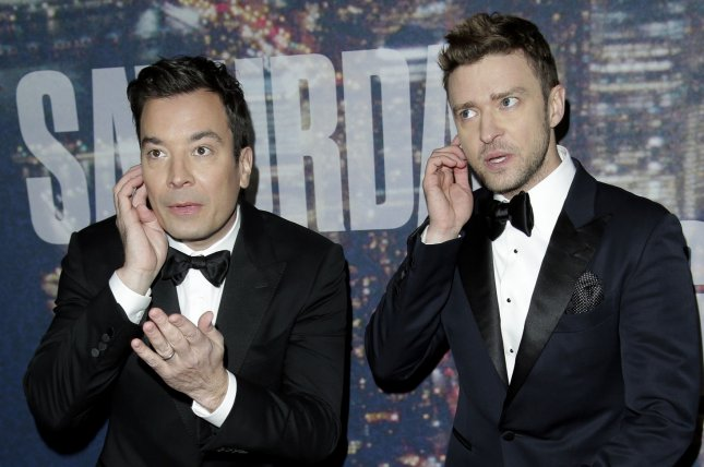 Jimmy Fallon and Justin Timberlake arrive on the red carpet at the SNL 40th Anniversary Special at 30 Rockefeller Plaza in New York City on Feb. 15. The Tonight Show with Jimmy Fallon and Saturday Night Live could be among the comedy content featured on NBC's planned Internet-based subscription service. Photo by John Angelillo/UPI
