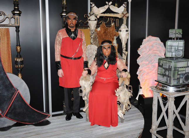Swedish couple Jossie Sockertopp, 23, and Sonnie Gustavsson, 29, were married in full Klingon costume at the first-ever Klingon wedding in the U.K. at Destination Star Trek London in 2012. File Photo by Paul Treadway/UPI