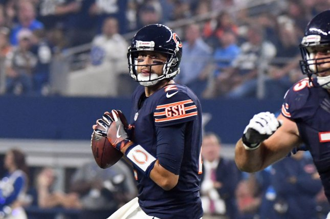 Former Chicago Bears backup quarterback Brian Hoyer looks to throw against the Dallas Cowboys during the first half at AT&T Stadium in Arlington, Texas on September 25, 2016. File photo by Ian Halperin/UPI