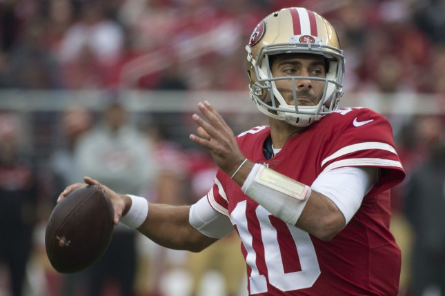 San Francisco 49ers QB Jimmy Garoppolo (10) throws against the Jacksonville Jaguars in the first quarter at Levi's Stadium in Santa Clara, California, California on December 24, 2017. File photo by Terry Schmitt/UPI