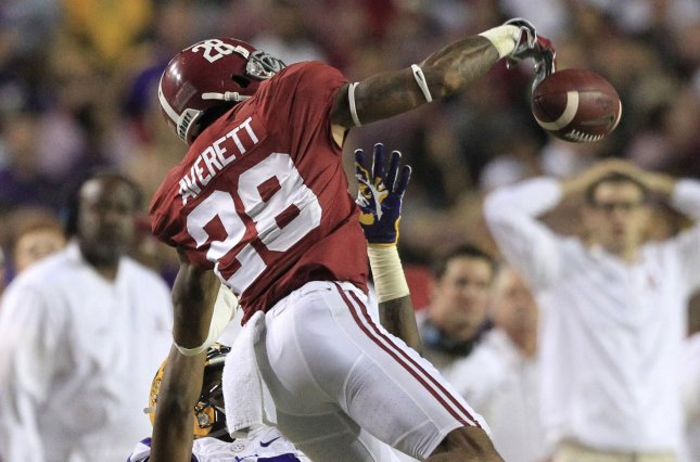 Alabama Crimson Tide defensive back Anthony Averett (28) knocks a Danny Etling pass away from LSU Tigers wide receiver D.J. Chark (82) in the third quarter on November 5, 2016 at Tiger Stadium in Baton Rouge, La. File photo by AJ Sisco/UPI