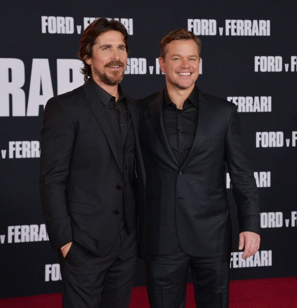 Cast members Christian Bale and Matt Damon attend the premiere of Ford v Ferrari in Los Angeles on November 4.  Photo by Jim Ruymen/UPI