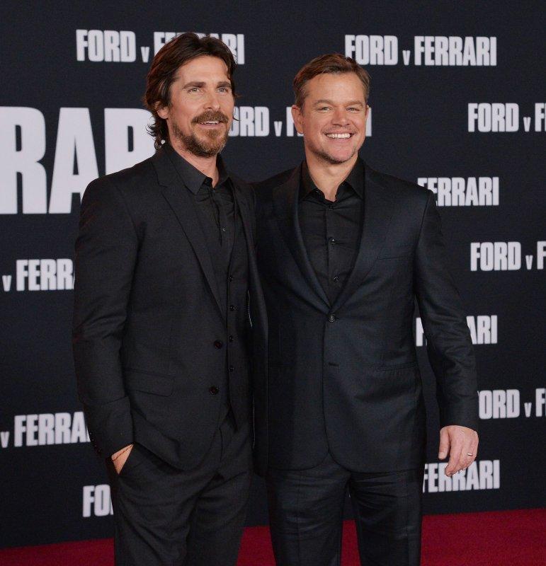 Cast members Christian Bale and Matt Damon attend the premiere of Ford v Ferrari in Los Angeles on November 4. Photo by Jim Ruymen/UPI