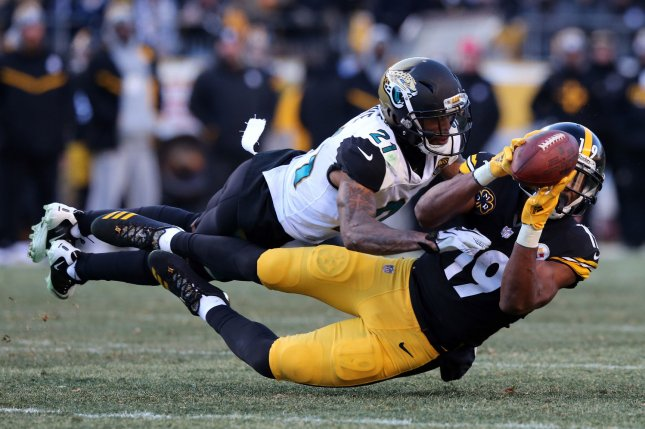 The Denver Broncos traded a fourth-round draft pick to the Jacksonville Jaguars last March in exchange for veteran cornerback A.J. Bouye (21). File Photo by Aaron Josefczyk/UPI