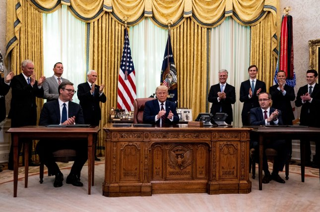 President Donald Trump participates in a signing ceremony and meeting with Serbian President Aleksandar Vucic (L) and the Kovovo Prime Minister Avdullah Hoti, in the Oval Office of the White House on September 4. Pool Photo by Anna Moneymaker/UPI