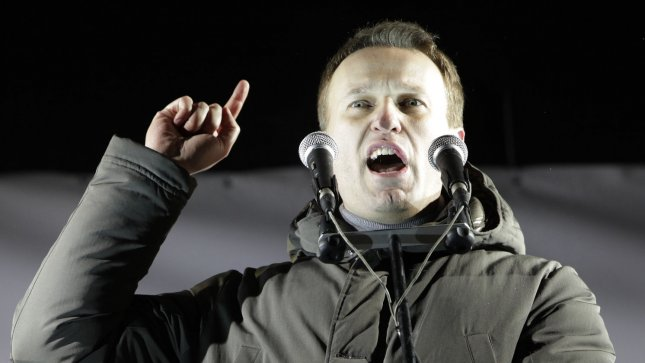 Opposition leader Alexei Navalny speaks during a massive Russia without Putin rally in Moscow to protest against Vladimir Putin's victory in a presidential election on March 5, 2012. (File/UPI/Yuri Gripas)