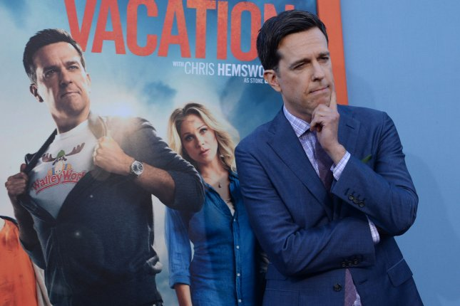 Cast member Ed Helms attends the premiere of the motion picture comedy Vacation at the Regency Village Theatre in the Westwood section of Los Angeles on July 27, 2015. Storyline: Hoping to bring his family closer together and to recreate his childhood vacation for his own kids, a grown up Rusty Griswold takes his wife and their two sons on a cross-country road trip to the coolest theme park in America, Walley World. Needless to say, things don't go quite as planned. Photo by Jim Ruymen/UPI