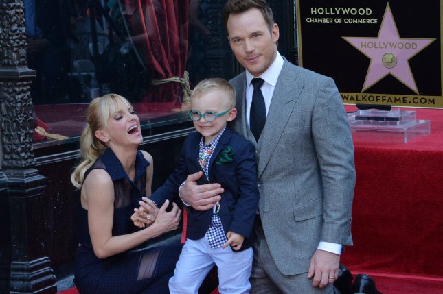 Actor Chris Pratt is joined by his wife, actress Anna Faris, and their son Jack during an unveiling ceremony honoring him with the 2,607th star on the Hollywood Walk of Fame in Los Angeles on April 21. File Photo by Jim Ruymen/UPI