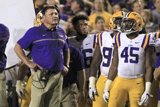 LSU Tigers head coach Ed Orgeron looks up at the scoreboard during a game against the Alabama Crimson Tide on November 5, 2016 at Tiger Stadium in Baton Rouge, Louisiana. File photo by AJ Sisco/UPI