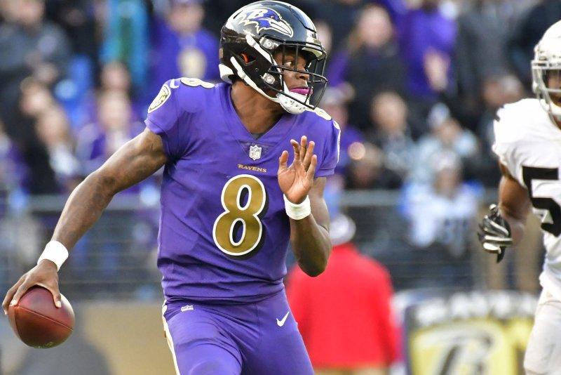 Baltimore Ravens quarterback Lamar Jackson takes off during a game against the Oakland Raiders on November 25, 2018. Photo by David Tulis/UPI