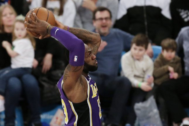 Los Angeles Lakers star LeBron James scored a game-high 33 points in a win against the Atlanta Hawks Sunday at Staples Center in Los Angeles. File Photo by John Angelillo/UPI