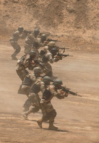 Iraqi Special Operations Forces soldiers train in a live-fire demonstration after graduating from an Iraqi-led security convoy course in Baghdad, Iraq on May 31, 2009. (UPI Photo/Jeffrey Ledesma/U.S. Military)