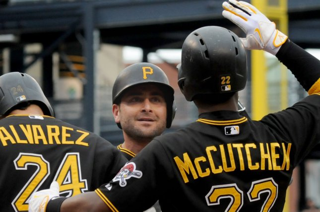Pittsburgh Pirates catcher Francisco Cervelli (29) celebrates his grand slam homer with Pittsburgh Pirates first baseman Pedro Alvarez (24) and Pittsburgh Pirates center fielder Andrew McCutchen (22) in the fourth inning against the St. Louis Cardinals at PNC Park in Pittsburgh on September 30, 2015. Photo by Archie Carpenter/UPI