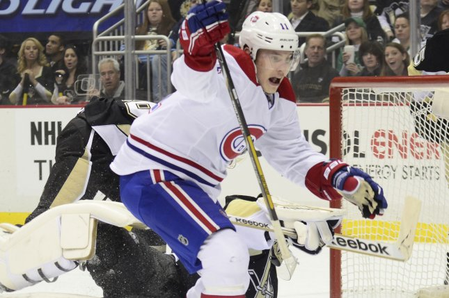 Brendan Gallagher enjoyed a career night with a goal and three assists to send the Canadiens to a 6-2 win over the Florida Panthers that allowed Montreal to clinch a spot in the Stanley Cup playoffs. File Photo by Archie Carpenter/UPI