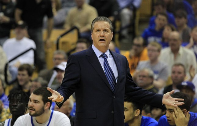 Kentucky Wildcats coach John Calipari asks for an explanation from officials during a game against Missouri in February. Photo by Bill Greenblatt/UPI