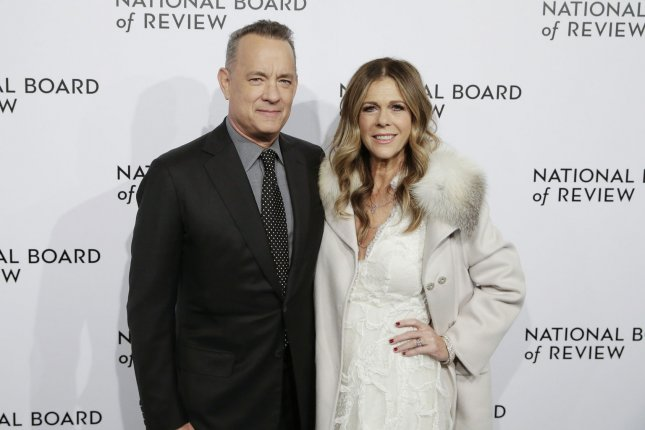 Tom Hanks (L) and his wife Rita Wilson. Hanks will be presenting Alan Alda with SAG's Life Achievement Award. File Photo by John Angelillo/UPI