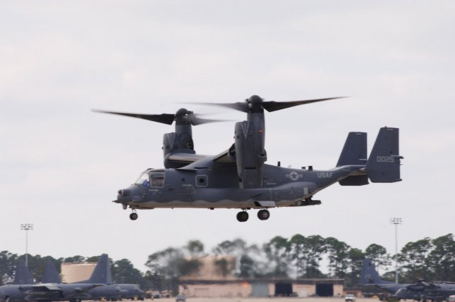 An Air Force CV-22 Osprey flies around Hurlburt Field, Fla., during an unveiling ceremony in 2006. A contract modification awarded to Raytheon completes the delivery of operational flight program software for the CV-22. File Photo UPI Photo/Stephanie Sinclair/U.S. Air Force
