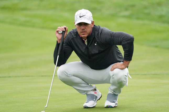Brooks Koepka became the first defending U.S. Open champion to break 70 in his first two rounds Friday. Photo by Kevin Dietsch/UPI