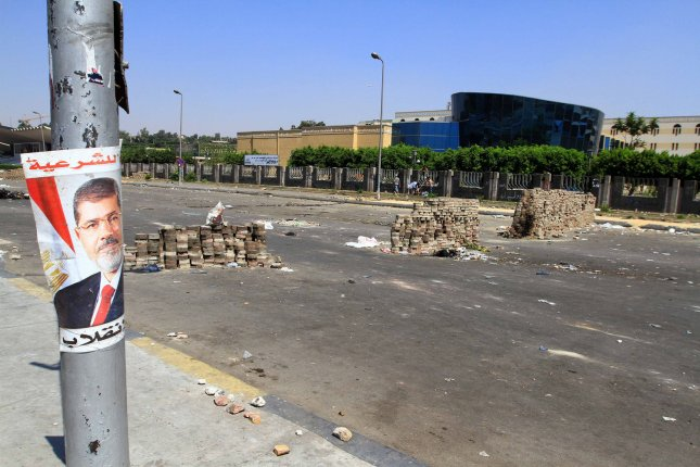 Shows road blocks at the area of clashes between police forces and supporters of ousted president Mohamed Morsi, near the tomb of former President Anwar al-Sadat, in Cairo, Egypt, July 27, 2013. UPI/Ahmed Jomaa