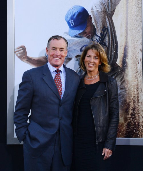 John C. McGinley, a cast member in the motion picture sport biography 42, attends the premiere of the film with his wife Nichole Kessler at TCL Chinese Theatre in the Hollywood section of Los Angeles on April 9, 2013. 42 depicts Jackie Robinson's life story and his history-making signing into professional baseball with the Brooklyn Dodgers under the guidance of team executive Branch Rickey. UPI/Jim Ruymen