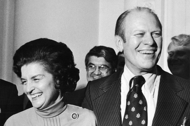 House Republican Leader and Mrs. Gerald Ford are a happy couple, leaving the White House on October 12,1973, after President Nixon tapped him to be vice president. Ford is the first man ever nominated to fill a vacancy created by the resignation of an incumbent vice president. Photo by Scott Stewart/UPI