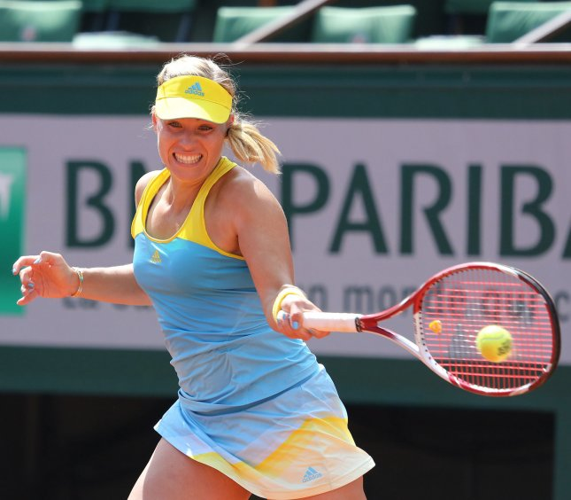 Angelique Kerber, shown at the 2013 French Open, didn't win a game in the first set but still managed to win her first-round match Wednesday at the Generali Ladies Linz WTA tournament n Austria. UPI/David Silpa
