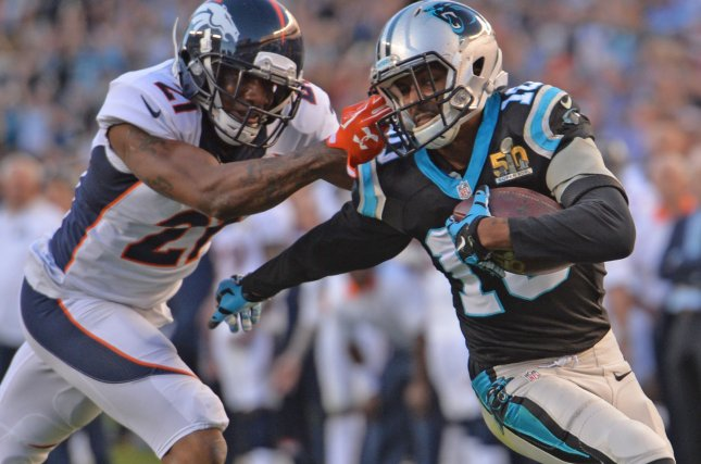 Carolina Panthers' Corey Brown (10) takes a pass from quarterback Cam Newton 13 yards and has his face mask grabbed by Denver Broncos' Aqib Talib (L) in the second quarter of Super Bowl 50 in Santa Clara, California on February 7, 2016. The play drew a flag. Photo by Kevin Dietsch/UPI