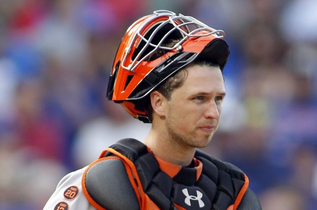 Buster Posey's walk-off pickoff saved the 2- 1 Giants victory over the Dodgers on Monday night. File photo by Frank Polich/UPI