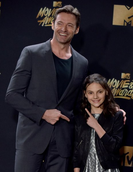 Logan stars Hugh Jackman and Dafne Keen appear backstage during the MTV Movie & TV Awards on May 7. In a new interview, Jackman shares what he initially thought of the character X-24 in Logan. Photo by Christine Chew/UPI