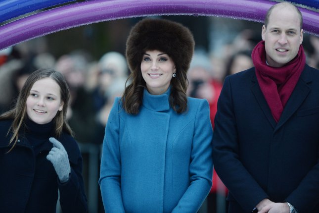 From left to right, Princess Ingrid Alexandra, Kate Middleton and Prince William visit Princess Ingrid Alexandra Sculpture Park as part of their Royal tour of Oslo on Thursday. Photo by Rune Hellestad/ UPI