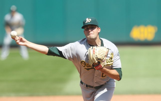 Andrew Triggs and the Oakland A's take on the Texas Rangers on Tuesday. Photo by Bill Greenblatt/UPI