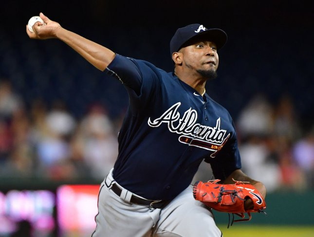 Atlanta Braves starting pitcher Julio Teheran (49) pitches against the Washington Nationals at Nationals Park on September 12, 2017. Photo by Kevin Dietsch/UPI