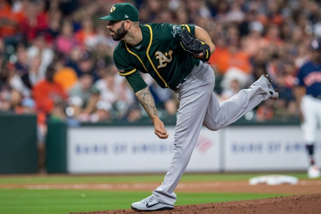 Oakland Athletics pitcher Mike Fiers began his latest start with a 6.81 ERA before tossing a no-hitter against the Cincinnati Reds on Tuesday in Oakland. File Photo by Trask Smith/UPI