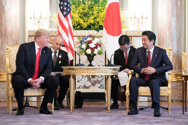 President Donald Trump participates in an expanded bilateral meeting with Japan's Prime Minister Shinzo Abe on May 27 at the Akasaka Palace in Tokyo. Photo by Shealah Craighead/White House