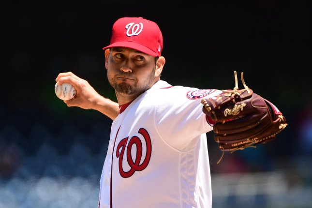 Washington Nationals starting pitcher Anibal Sanchez went 11-8 with a 3.85 ERA this season. File Photo by Kevin Dietsch/UPI