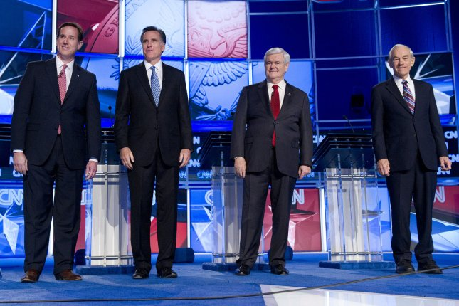 The results of Tuesday's Florida presidential primary could winnow the Republican field even further. The candidates, from left to right, Rick Santorum, Mitt Romney, Newt Gingrich and Ron Paul. UPI/Kevin Dietsch