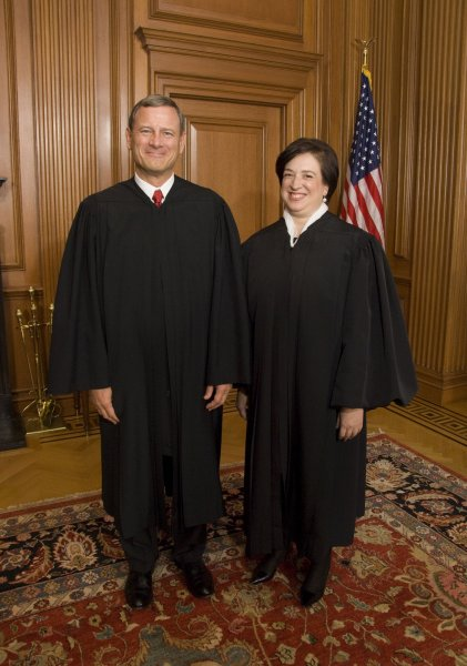 Chief Justice John G. Roberts, Jr. and newly installed Justice Elena Kagan. Kagan will recuse herself from Mayo Foundation for Medical Education and Research vs. United States of America because as solicitor general she filed a brief on behalf of the government.