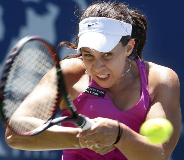 Marion Bartoli, shown in a 2009 file photo, dropped only one game Monday in taking a first-round match at the Hobart International in Australia. UPI/Terry Schmitt