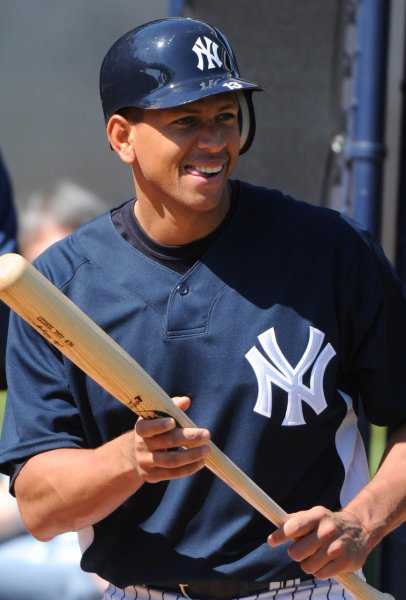 New York Yankees' third baseman Alex Rodriguez participates in hitting practice during spring training at George M. Steinbrenner Field in Tampa, Florida on February 18, 2009. (UPI Photo/Kevin Dietsch)